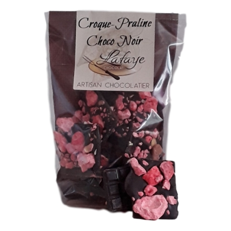 Croques-pralines roses chocolats noir